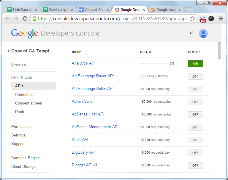 Google developers' console