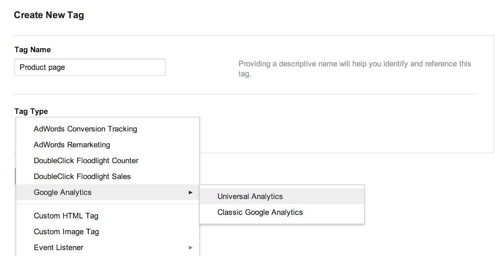 choose universal analytics tag